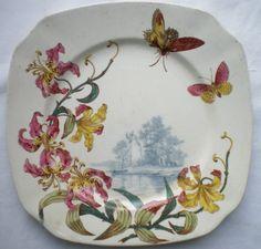 Sublime Assiette ART Nouveau 1880 Lunéville KG Orchidées Papillons ET Paysage   eBay