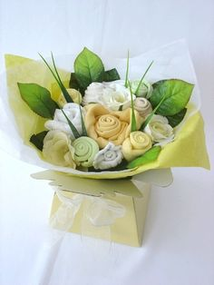 Baby Clothes Bouquet. So cute! baby-shower-ideas