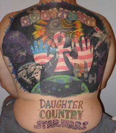 Well at least he has priorities. Terrible Tattoos, Weird Tattoos, Tatoos, Funny Tattoos, Worlds Worst Tattoos, Patriotic Tattoos, Star Wars Tattoo, Tattoos Gallery, Body Modifications