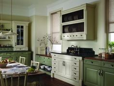 Kitchen Cabinet Design, Kitchen Cabinetry, Green Country Kitchen, Green Interior Design, German Kitchen, Modern Country Style, Beautiful Kitchens, Retro, Innovation Design