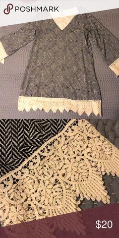 Print dress with lace detail Print dress with lace detail Stella Lane Dresses