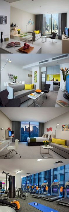 These modern serviced apartments are located within the Central Business District of Melbourne, less than a 30 minute drive from Tullamarine Airport. They're close to major business and financial offices, as well as many world-renowned restaurants, entertainment areas, the shopping district and theatres. Here are Bourke Street Apartments, Centre, Melbourne.