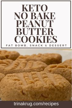 Keto No Bake Peanut Butter Cookies   Keto Diet   Low Carb   Keto Diet for Beginners   Easy Keto Diet Recipes   Low Carb Recipes   Visit trinakrug.com/recipes