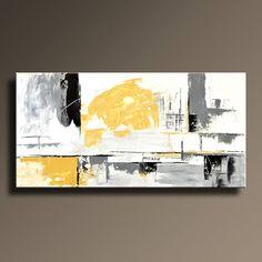 Il sagit dune peinture acrylique sur toile non tendue.  Cela sera expédié directement de mon studio.  Cette peinture arrive non étirée roulée dans un tube protégé!!!   Titre: YG07i5us  Taille de limage : 48 x 24 pouces  Toile taille totale : 54 x 30 pouces (taille + 6 pouces pour étirer limage : 1,5 - 1,5 pouce peint, 1,5-1,5 pouces blanc)   Artiste : Imre Toth (Emerico)  Signé sur le devant – I. Toth. 17  Palette de couleurs : blanc, gris, noir, jaune de naples  Jai envoyer la peinture…