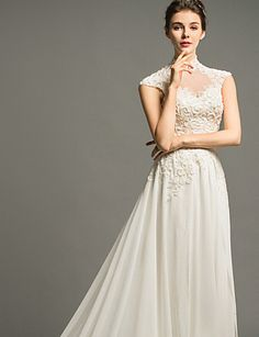 A-line High Neck Court Train Wedding Dress (Chiffon) – USD $ 199.99
