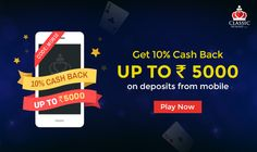 """Classic Rummy brings an exclusive cash back offer to all its mobile app players!  Get 10% cash back up to Rs. 5000 on deposits made from mobile. Use Coupon Code """"MOB10""""  #rummy #classicrummy #cashback #mobileapp #mobile #app #android #onlinerummy #androidmobiles"""