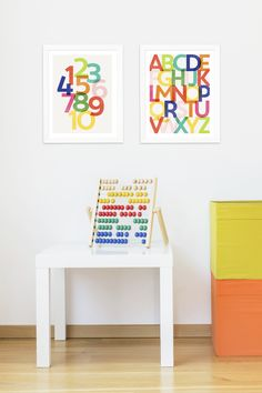 How great is this? Decorate your kids' playroom some educational wall art from Pear Tree! #decor #kidsIdea