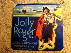 Jolly Roger Brand Produce Crate label by ScarlettsFancies on Etsy, $9.50