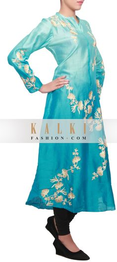 Buy Online from the link below. We ship worldwide (Free Shipping over US$100) http://www.kalkifashion.com/featuring-a-ice-blue-ombre-kurti-with-embellishment-in-thread-and-zari-only-on-kalki.html
