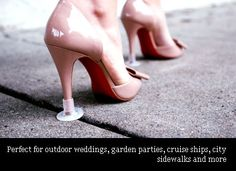 Heels above....keeps your heel from sinking into grass or mud