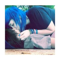 emo love | Tumblr ❤ liked on Polyvore featuring couples, people, love, hair and models