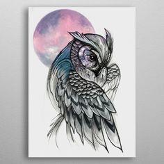 Moonlight Owl by ARTilley Owl Tattoo Drawings, Bird Drawings, Art Drawings Sketches, Animal Drawings, Realistic Owl Tattoo, Colorful Owl Tattoo, Owl Sketch, Owl Artwork, Owl Tattoo Design