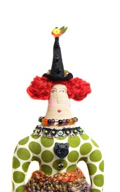 Whimsical witch textile art cloth doll, via Etsy.