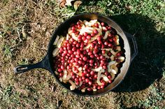 Thanksgiving feast around the campfire