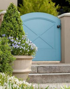 Sweet faced pansies along boxwood in a Brookfield pot. French-Inspired Garden in the Pacific Northwest | Traditional Home