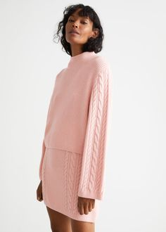 Boxy Cable Knit Sweater - Pink - Mock neck sweaters - & Other Stories GB