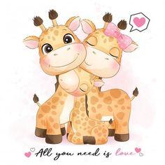 Balloon Illustration, Family Illustration, Cute Illustration, Watercolor Illustration, Giraffe Drawing, Baby Animal Drawings, Cute Drawings, Doodles Bonitos, Cartoon Mignon