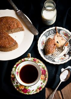 pearbuckwheat cake with tea poached pears - recipe here