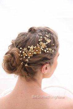 Rustic Gold and Bronze Wedding Hair Comb, Golden Wedding Headpiece Brassy Boho Wedding Hair Comb Gold Metal Comb