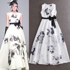 Elegant Dress 2015 Summer Women's Beautiful Brand Fashion Runway Roses Print Floor Length White Sleeveless Fairy Maxi Dress-in Dresses from Women's Clothing & Accessories on Aliexpress.com | Alibaba Group