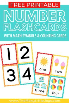 Free Printable Number Flashcards (+ counting cards) - The Many Little Joys Free Printable Numbers, Free Printable Flash Cards, Free Printables, Preschool Printables, Preschool Worksheets, Teaching Numbers, Numbers Preschool, Fall Preschool, Preschool Math