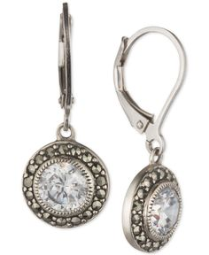 Judith Jack Sterling Silver Marcasite and Crystal Drop Earrings
