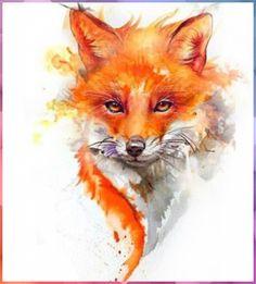 Aquarell Tattoo Fuchs, Fuchs Tattoo, Cute Animal Drawings, Art Drawings, Fox Painting, Fox Pictures, Fox Drawing, Fox Illustration, Fox Art