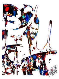 """John Bonham of Led Zeppelin: POSTER from Original Dwg 18"""" x 24"""" Signed/Dated by Artist w/COA 2"""