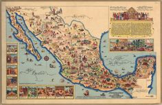 Map of Mexico with inset historical and cultural drawings, music, and text in Spanish and English.
