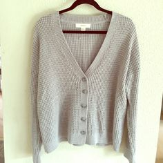 //Gray knitted sweater// Gray button up slouchy sweater Forever 21 Sweaters Cardigans