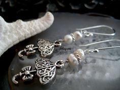 Dainty Sterling Silver Umbrella Earrings-Minimalist Tiny Pearl earrings-Dangle Earrings-Whimsical Umbrella earrings-Rainy Day Earrings-Rain by elsyrene on Etsy