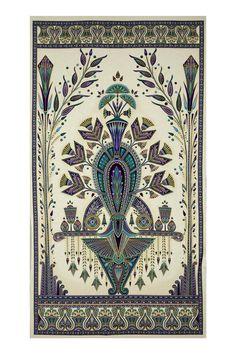 """Kaufman Valley of the Kings Metallic 24"""" Panel Jewel from @fabricdotcom  Designed by Studio RK for Robert Kaufman, this cotton print collection is made in japan and features elegant metallic accents. Perfect for quilting, apparel, and home decor projects. Panel measures 24"""" x 44"""". Colors include beige, purple, teal, and metallic gold accents."""
