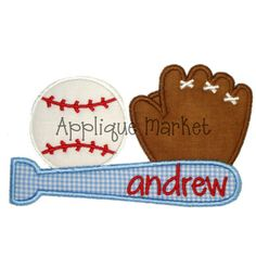Machine Embroidery Design Applique Baseball Trio by tmmdesigns, $4.00