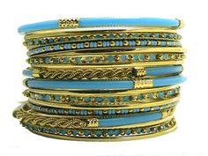Turquoise Gold Tone Resin Bangle Bracelet Set Shop One Tw...…