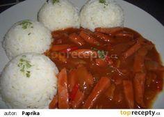 Devil's Sauce with Rice - Čertova omáčka s rýží recept - TopRecepty. Czech Recipes, Ethnic Recipes, Sausage Recipes, Food 52, Food Videos, Stew, Mashed Potatoes, Food And Drink, Menu
