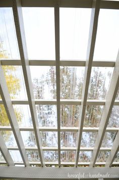 See the sky through your pergola roof with a beautiful DIY clear roof. The entire roof was easy to DIY. Housefulofhandmade.com