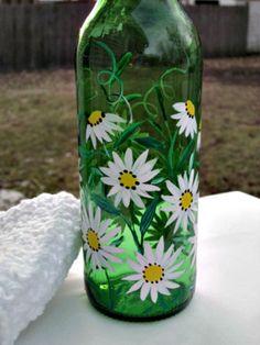 Painted Glass Bottles, Green Glass Bottles, Glass Bottle Crafts, Wine Bottle Art, Decorated Bottles, Beer Bottle, Wine Glass, Recycled Wine Bottles, Lighted Wine Bottles