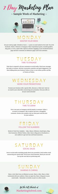 This Free 7 Day Marketing Plan & Template will help you focus on the right activities to do every day to market your business.   //Marketing Planner // Sample Marketing Week// Weekly Marketing Planner //Social Media Planner