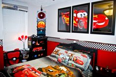 Disney Cars Bedroom - Use three 20x30 frames to make a bigger picture.