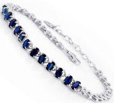 GVBORI 925 Sterling Sliver Natural Sapphire Gemstone Bracelet For Women Fine Jewelry Valentine Gift $199.50