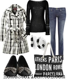 fall outfit - jeans with black shirt and B plaid jacket.