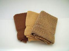 Dishcloths Knit in Cotton in Saffron, Buttercup and Saffron/Buttercup/Sidewalk, Knit Dish Cloth, Knit Wash Cloth, Wash Cloth, Dish Cloth