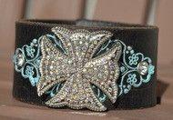 Bling Cross Brown & Blue Leather Cuff Bracelet