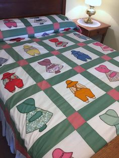 Sunbonnet Sue Overall Sam Quilt top Vintage Hand by AStringorTwo