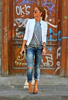 Casual fashion trend. Jeans, t-shirt, blazer and heels