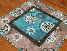 Teal and Gray Quilted Table Topper Teal Table Runner Teal
