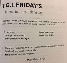 Honey mustard dressing (TGI Friday's copycat). Copykat Recipes, Sauce Recipes, Cooking Recipes, Cooking Ideas, Bread Recipes, Salad Dressing Recipes, Salad Dressings, Honey Mustard Sauce, Texas Roadhouse Honey Mustard Dressing Recipe