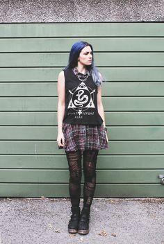 Goth schoolgirl look