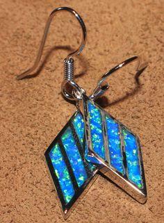 blue fire opal earrings Gemstone silver jewelry chic modern drop/dangle style YW #DropDangle