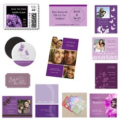 Purple save the date cards, magnets, stamps, post cards, and stickers.